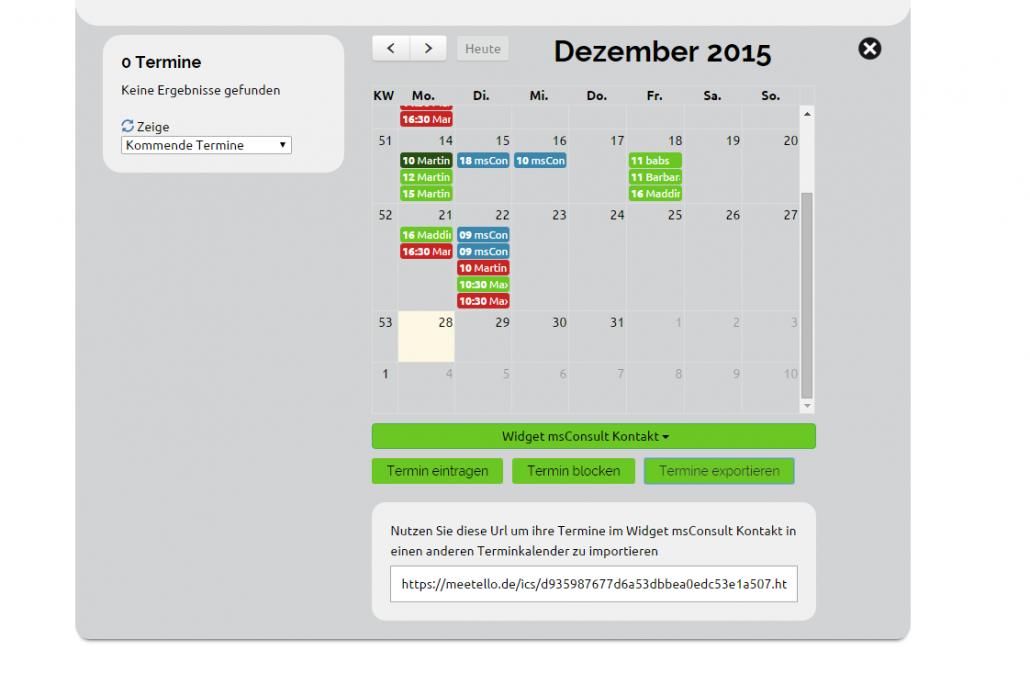 meetello Kalender Export